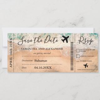 Save the date script tropical plane boarding pass