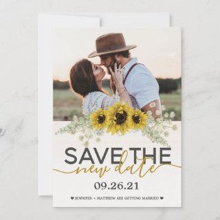 Save the Date Sunflowers Wedding Photo Announcement