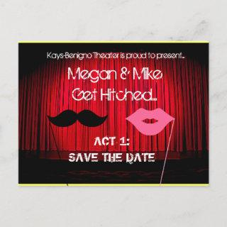 Save the Date Theater Wedding Announcement Postcard