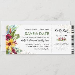 Save the Date Tropical Floral Boarding Pass