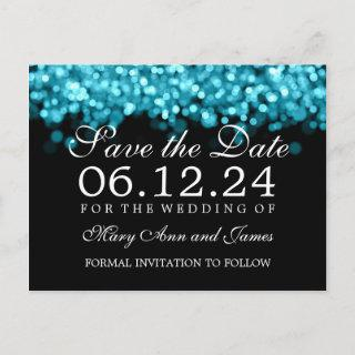 Save The Date Turquoise Lights Announcement Postcard
