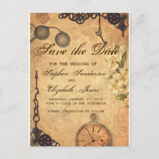 Save The Date Vintage Victorian Steampunk Announcement Postcard