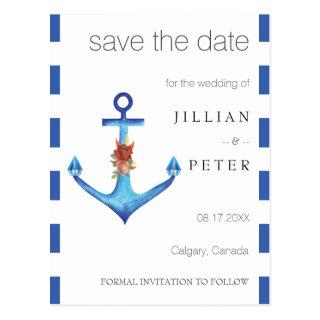 Save the Date Wedding Anchor Diamond Rose Sail Postcard