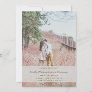 Save the Date Wedding Photo Faux Gold and Overlay