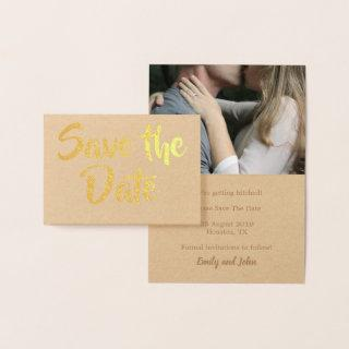 Save The Date/Your Photo/Gold Kraft Foil Card