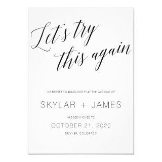 Save the new date, wedding postponement card. Invitations