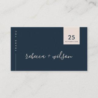 SCANDI CLEAN NAVY BLUSH MINIMAL WEDDING THANK YOU BUSINESS CARD