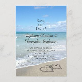 Scenic Hearts in the Sand Beach Save the Date