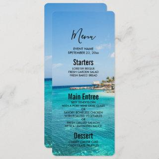 Scenic Tropical Beach with Thatched Huts Wedding Invitations