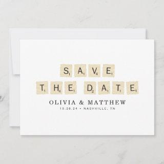Scrabble Save the Date with Engagement Photo