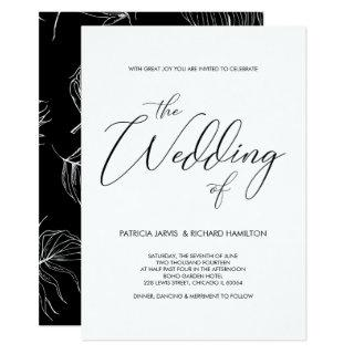 Script Lettering Black & White Wedding Invitations