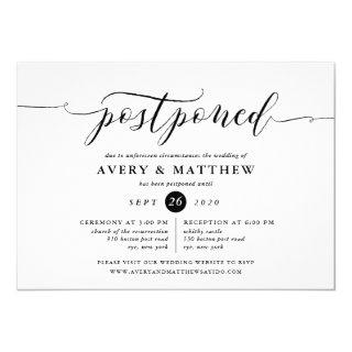 Script Postponed Wedding Ceremony and Reception Invitations