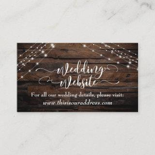 Script Rustic Wood & Light Strings Wedding Website Enclosure Card