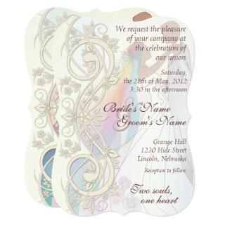 Scroll Rainbow Bride & Groom Wedding Invite-1C Invitations