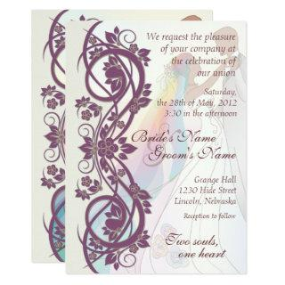 Scroll Rainbow Bride & Groom Wedding Invite-2B Invitations