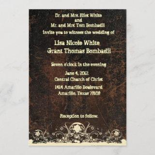 Scuffed Leather Look, Shabby Lace Wedding Invitations