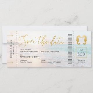 Seahorse Boarding Pass Ticket Beach Wedding Save The Date