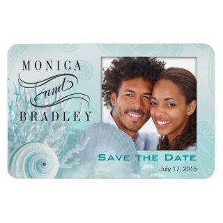Seashell Dreams Beach Photo Save the Date aqua Magnet