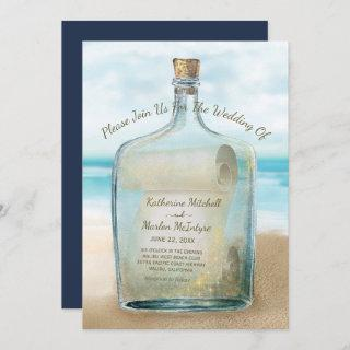 Seashells Message in a Bottle | Nautical Wedding Invitation
