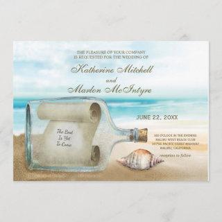 Seashells Message in a Bottle | Nautical Wedding Invitations