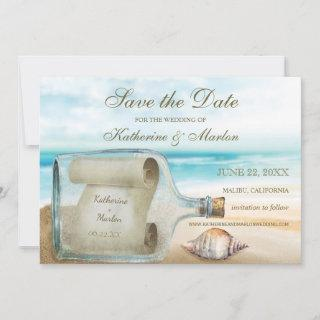 Seashells Message in a Bottle | Nautical Wedding Save The Date
