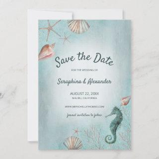 Seashore | Beach Blue Watercolor Seashells Coral Save The Date