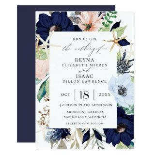 Seaside Botanical Wedding Invitation