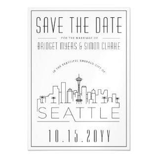 Seattle Wedding | Stylized Skyline Save the Date Magnetic Invitations