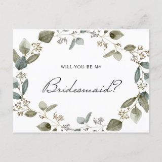 Seeded Eucalyptus Wreath Will You Be My Bridesmaid Invitation Postcard