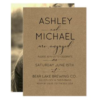 Sepia Kraft Typography Engagement Party Invitations