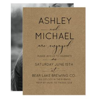 Sepia Kraft Typography Engagement Party Invitation