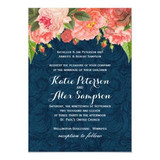 Shabby Chic Coral and Navy Blue Wedding Invitation