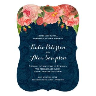 Shabby Chic Coral and Navy Reception Only Invite