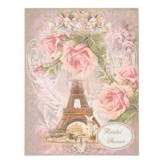 Shabby Chic Eiffel Tower Pink Floral Bridal Shower Invitation