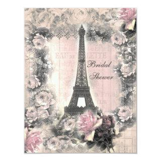 Shabby Chic Eiffel Tower & Roses Bridal Shower Invitations