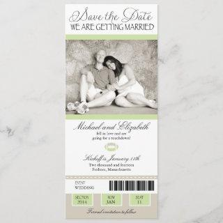 Shabby Chic Football Ticket Save the Date