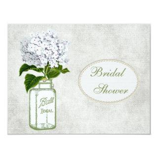 Shabby Chic Mason Jar & Hydrangea Bridal Shower Invitations