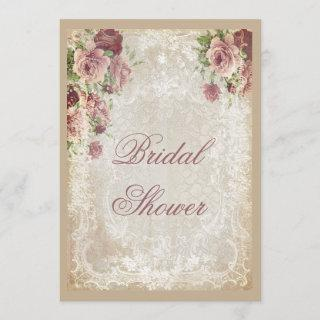 Shabby Chic Roses Pearls and Lace Bridal Shower Invitation