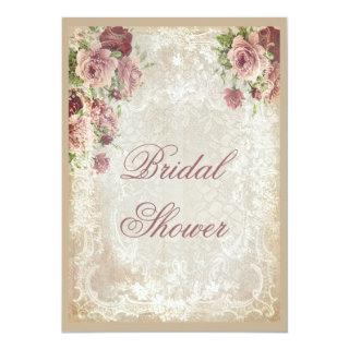 Shabby Chic Roses Pearls and Lace Bridal Shower Invitations