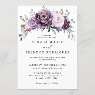 Shades of Dusty Purple Blooms Moody Floral Wedding Invitation