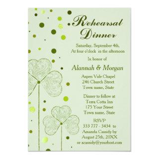 Shamrock Polka Dots Wedding Rehearsal Dinner 2 Invitation