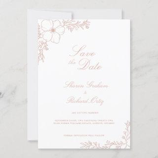 Sharon Classic Floral Flat Save The Date Card