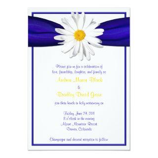 Shasta Daisy with Blue Ribbon Wedding Invitations