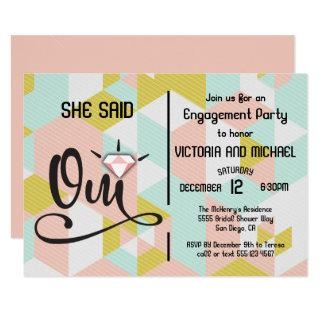 She said Oui yes modern engagement party Invitation