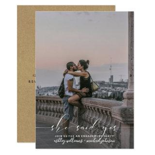 She Said Yes Calligraphy Kraft Photo Engage Party Invitation