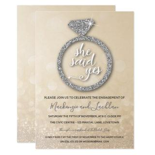 She Said Yes Engagement Party Gold and Silver Invitations