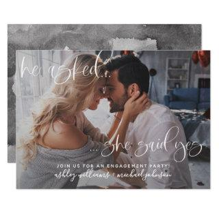 She Said Yes Photo Calligraphy Engagement Party Invitations