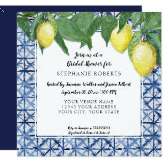 Shibori Navy n White w Lemon Citrus Bridal Shower Invitations