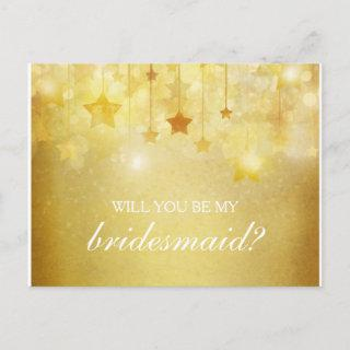 Shining Gold Stars Will You Be My Bridesmaid Invitations Postcard