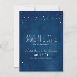 Shooting Star Blue Watercolor   Save the Date